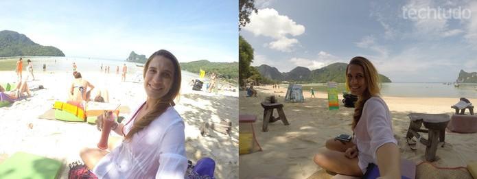 As duas fotos foram tiradas no mesmo lugar. Porém, a primeira saiu clara demais por causa posição da luz disponível (Foto: Juliana Pixinine/TechTudo)