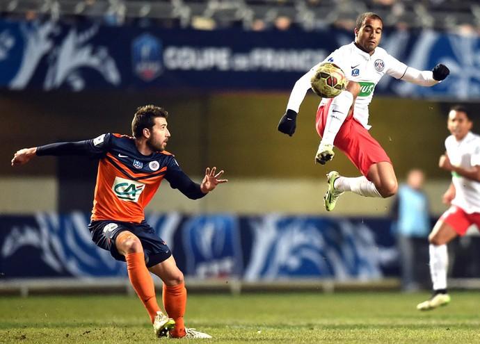 Lucas, Montpellier X PSG (Foto: Agência AFP )