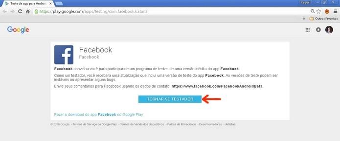 Página do programa de testes do Facebook para Android (Foto: Reprodução/Raquel Freire)
