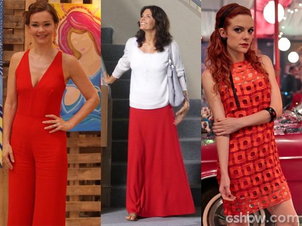 O vermelho está com tudo entre as personagens de Em Família (Foto: Pedro Curi;Em Família/TVGlobo)