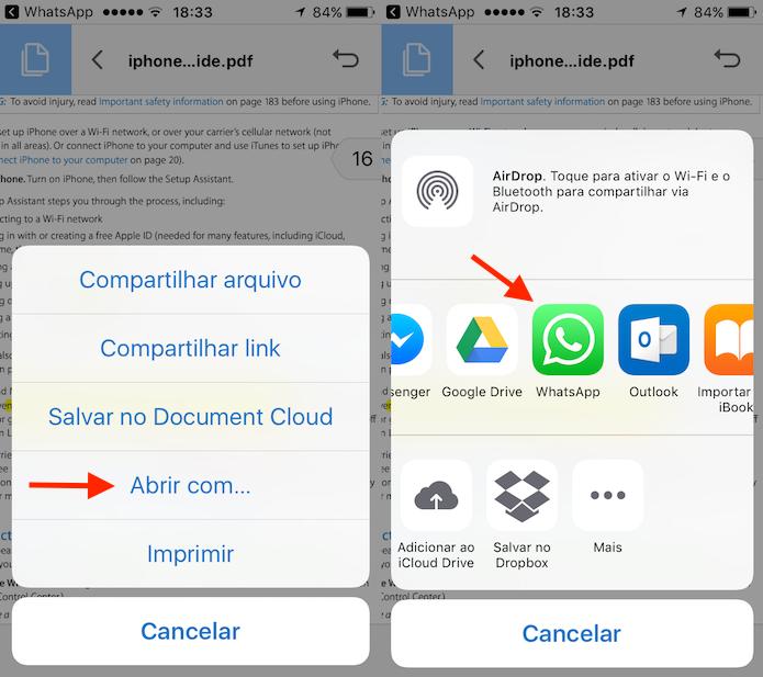 Opção para exportar de volta ao WhatsApp o documento editado no Adobe Reader (Foto: Reprodução/Marvin Costa)