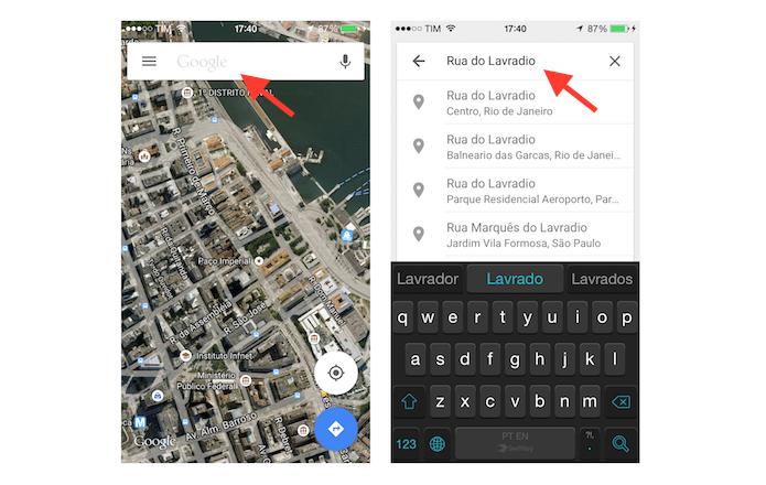 Buscando por uma rua ou avenida no Google Maps do celular (Foto: Reprodução/Marvin Costa)