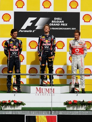 Sebastian Vettel, Mark Webber e Jenson Button no pódio do GP da Bélgica de 2011 (Foto: Getty Images)