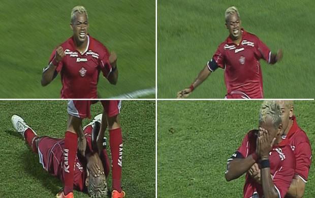 Marcelinho Paraíba se emociona após fazer dois gols pelo Boa Esporte (Foto: Reprodução Premiere FC)