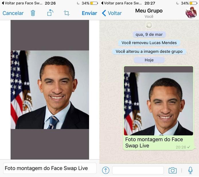 """Seleciona a imagem e toque em """"Enviar"""" no WhatsApp (Foto: Reprodução/Lucas Mendes)"""