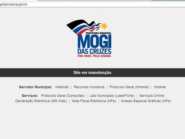 Site Prefeitura Mogi das Cruzes hackeado (Foto: Reprodução Internet)