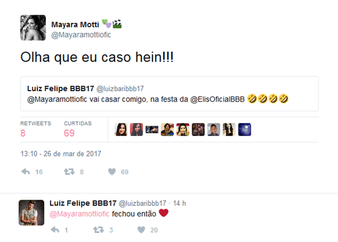 Mayara e Luiz Felipe trocam mensagens na internet (Foto: Twitter)