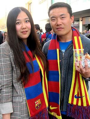 Messi torcida chineses especial Barcelona (Foto: Cahê Mota / Globoesporte.com)