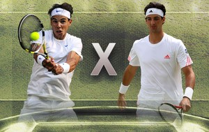 MONTAGEM - Rafael Nadal versus Thomaz Bellucci wimbledon (Foto: Agência Getty Images)