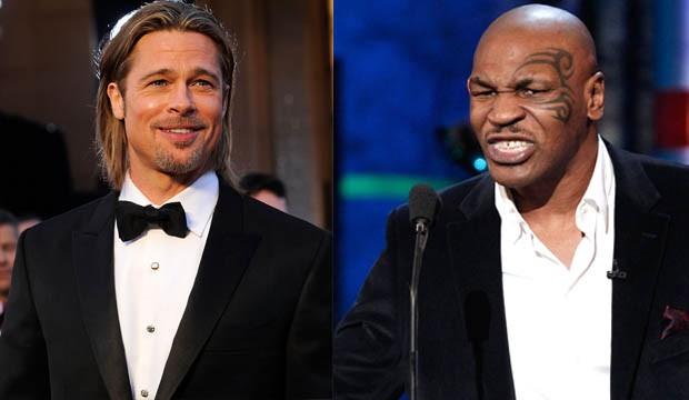 Brad Pitt e Mike Tyson, vegetarianos (Foto: Kevork Djansezian e Christopher Polk/ Getty Images)