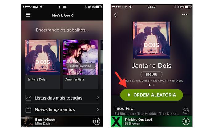 Abrindo uma música ou lista no Spotify em um dispositivo iOS (Foto: Reprodução/Marvin Costa)
