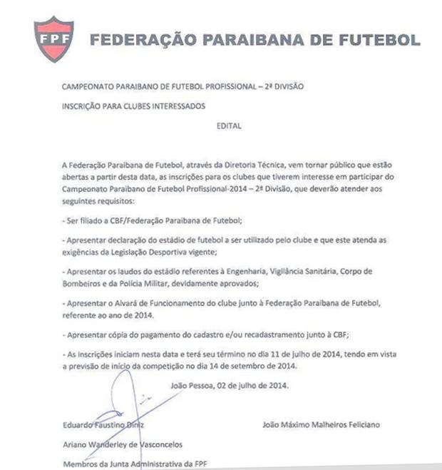 FPF divulga edital de abertura de inscrição para a 2ª divisão do Paraibano (Foto: Divulgação / FPF)