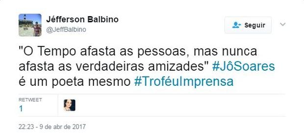 Internautas elogiam reecontro de Jô Soares e Silvio Santos no Troféu Imprensa (Foto: Reprodução / Twitter)