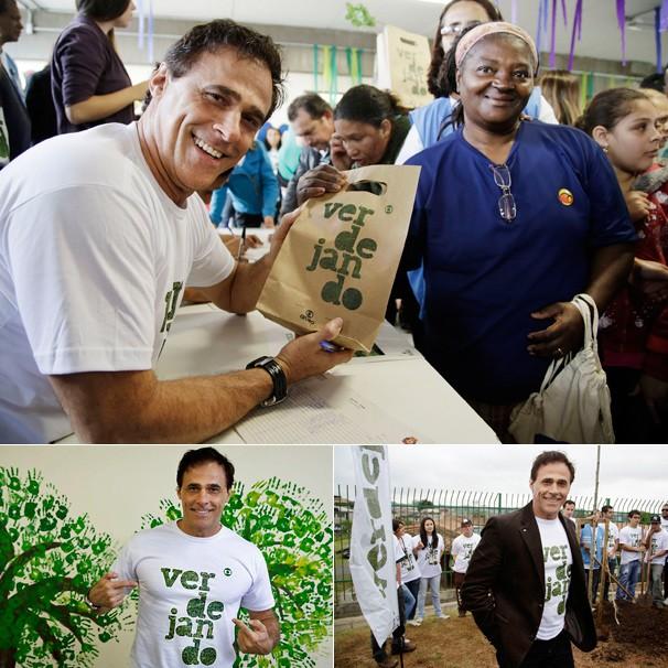 O ator Oscar Magrini fez parte do Verdejando realizado na Vila Natal, Grajaú, zona sul de São Paulo, onde distribuiu mudas de plantas ornamentais (Foto: Fernando Pilatos/Globo)
