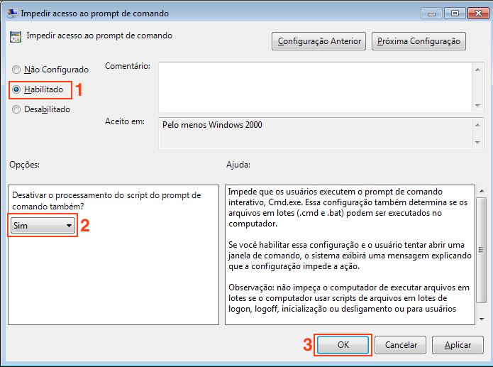 Habilitando a opção que desativa o Prompt de comando no Windows (Foto: Reprodução/Edivaldo Brito)
