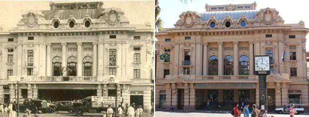 """Theatro Pedro II anunciava peça """"A tragédia do fim do mundo"""" na década de 1930. A mesma fachada nos dias atuais (Foto: Clayton Castelani/G1)"""