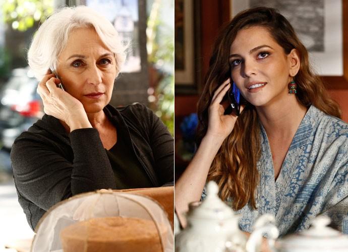 Cris e Olga viviam em momentos suspeitos! Qual das duas será a mulher misteriosa? (Foto: Raphael Dias/Gshow)