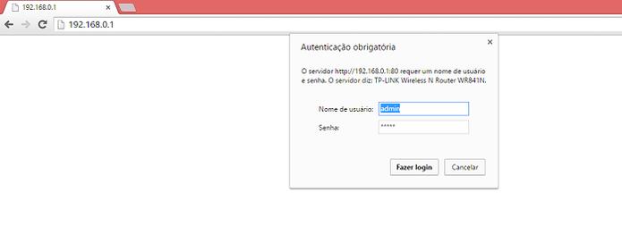 Acesse o roteador no browser (Foto: Reprodução/Gabriel Ribeiro)