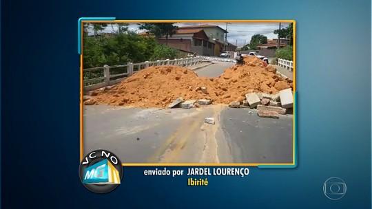 Telespectador denuncia bloqueio de ponte, em Ibirité, na Grande BH