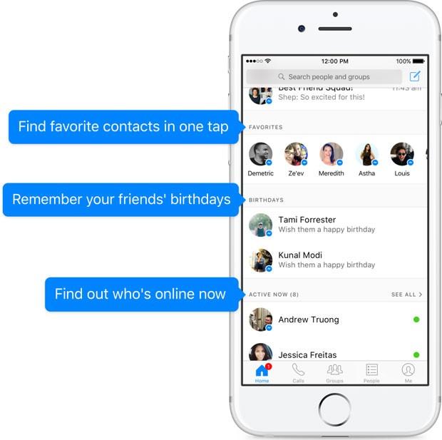 Messenger, app de bate-papo do Facebook, lista contatos favoritos e mostra aniversários de amigos. (Foto: Divulgação/Facebook)