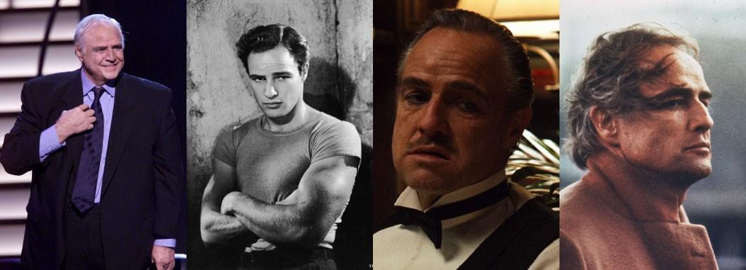 Brando é tido como um dos maiores atores do cinema. Em 'Uma Rua Chamada Pecado' (1951), interpreta o grosseirão Stanley, no qual apresenta boa forma física e músculos. Já em 'O Poderoso Chefão'(1972), o ator surge como o mafioso Vito Corleone e a idade pesa em seu personagem. Nesse mesmo ano, faz 'Último Tango em Paris' e aparenta mais disposição como o viciado em sexo Paul. (Foto: Getty Images/Reprodução)