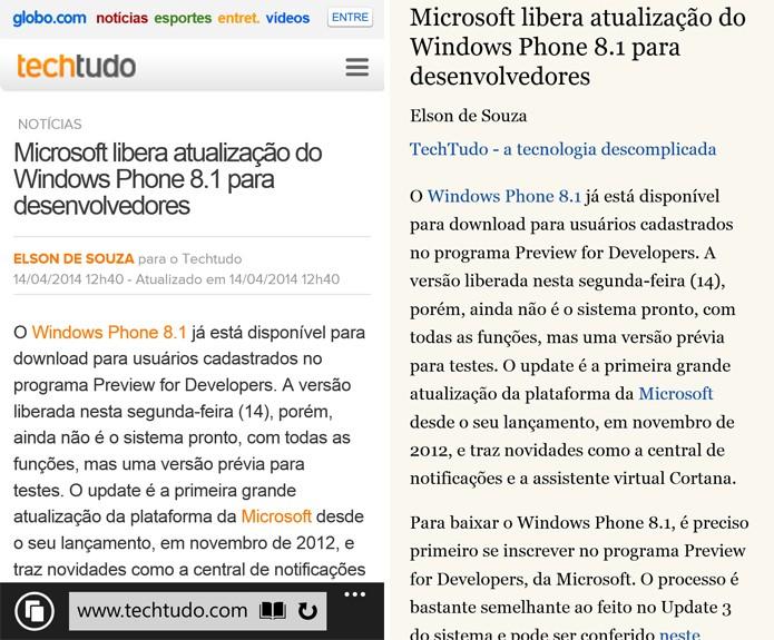 Internet Explorer 11 do Windows Phone 8.1 agora tem modo de leitura e sincronização com o PC (Foto: Reprodução/Elson de Souza)