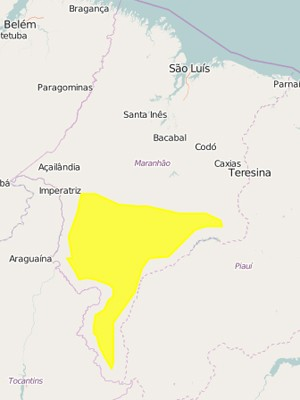 Alerta é válido para quase 40 municípios do Estado (Foto: Reprodução/Inmet)