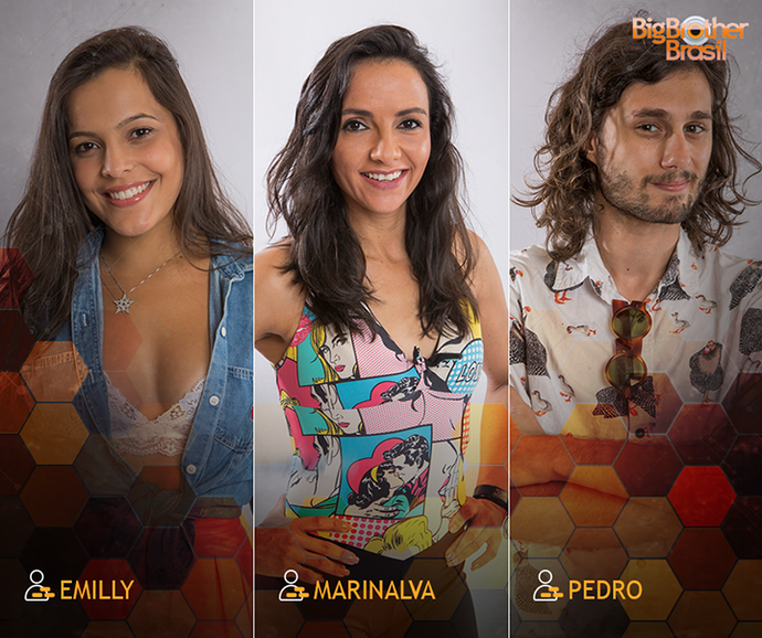 Emilly, Marinalva e Pedro enfrentam Paredão triplo no BBB17. (Foto: Gshow)