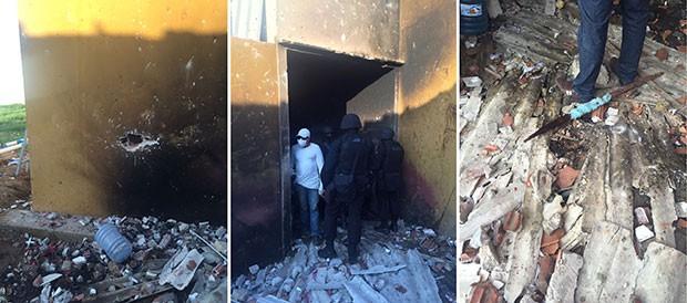 Quatro dos cinco pavilhões do Pereirão foram parcialmente destruídos (Foto: Divulgação/Polícia Militar)