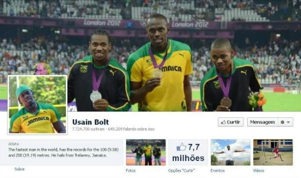 Bolt ainda é imbatível no número de seguidores. No Facebook, são 7,7 milhões de fãs (Foto: Reprodução / Twitter)