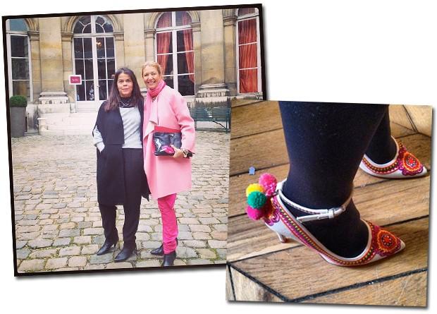 Daniela Falcão e Donata Meirelles, diretora de estilo da Vogue, na saída da apresentação da Roger Vivier; à direita, close nos sapatos de Carolina Issa (Foto: Reprodução/Instagram)