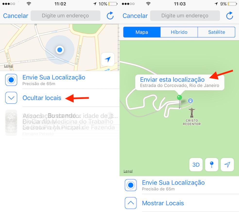 Opção para enviar uma locação de qualquer ponto do mapa no WhatsApp (Foto: Reprodução/Marvin Costa)