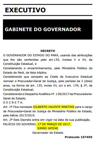 Nomeação de Gilberto Valente Martins pelo governador do Pará, Simão Jatene, no Diário Oficial do estado (Foto: Reprodução)