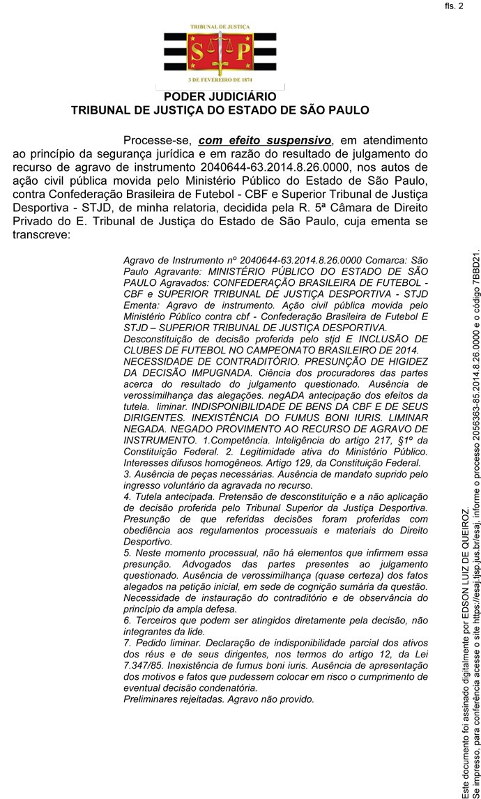 Decisão Efeito Suspensivo Portuguesa CBF