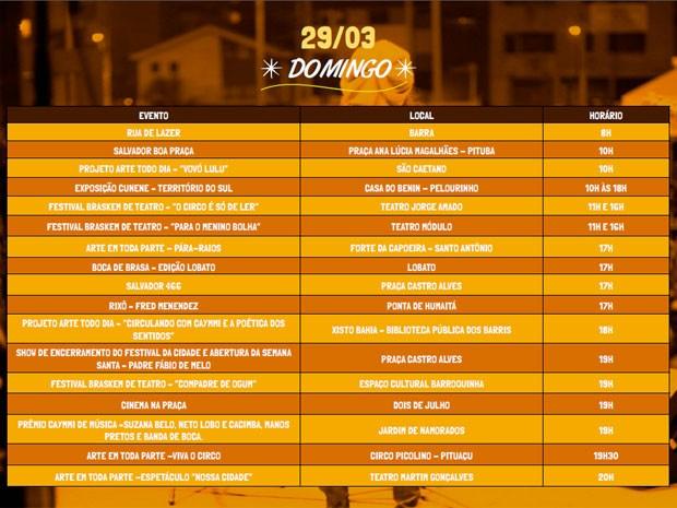 Programação do primeiro oitavo do Festival da Cidade (Foto: Divulgação / Agecom)