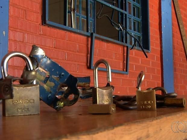 Escola é arrombada pela décima vez em apenas 3 meses, em Luziânia, Goiás (Foto: Reprodução/TV Anhanguera)