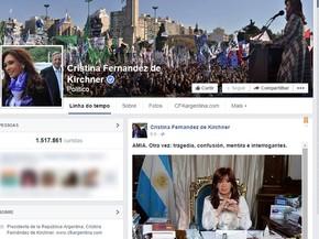 Presidente postou sobre o caso na noite desta segunda-feira (19) (Foto: Reprodução/Facebook Oficial Cristina Fernandez de Kirchner)
