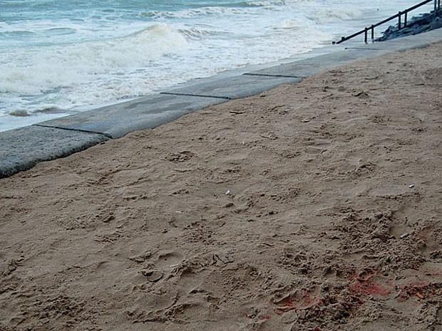Manchas de sangue podem ser vistas na faixa de areia (Foto: Priscila Miranda / G1)