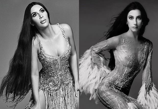 Kim Kardashian e Cher (Foto: Mariano Vivanco e Reprodução)