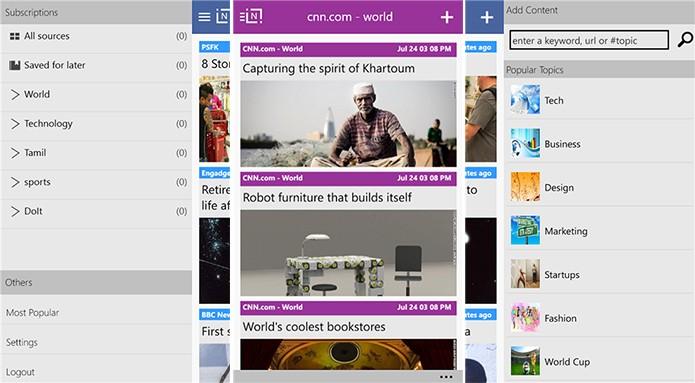 iNi Reader é um cliente do Feedly fácil de usar e bastante funcional (Foto: Divulgação/Windows Phone Store)