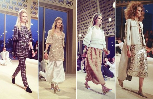 Looks do desfile da Coleo Resort 2014/2015 da Chanel em Dubai (Foto: Reproduo Instagram)