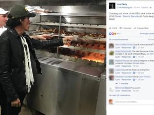 Joe Perry conferindo os espetos em uma churrascaria de Porto Alegre (Foto: Reprodução/Facebook)