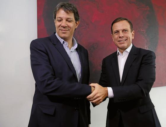 O prefeito eleito João Doria Jr (PSDB) e o ex prefeito Fernando Haddad  (Foto:   Moacyr Lopes Junior/Folhapress)
