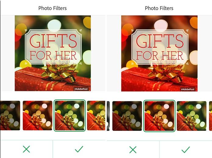 Adobe Post tem filtros que podem ser aplicados no cartão virtual do usuário (Foto: Reprodução/Elson de Souza)