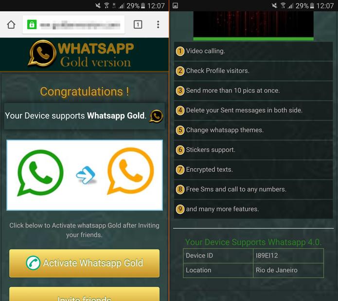 """Site fo """"WhatsApp Gold"""" detecta a localização do internauta (Foto: Reprodução/TechTudo)"""