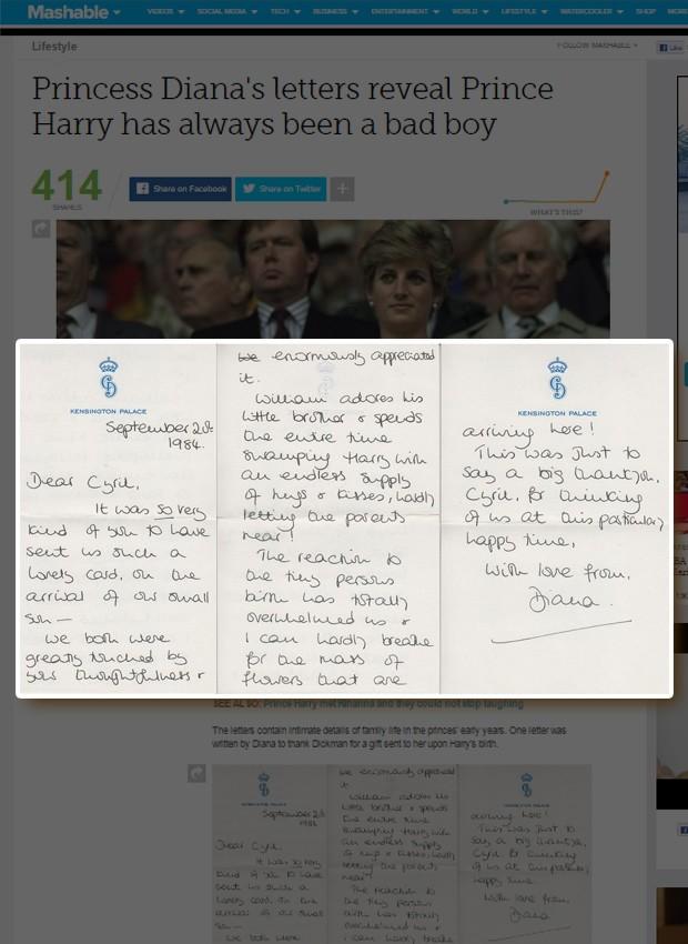 Carta da Princesa Diana (Foto: Reprodução)