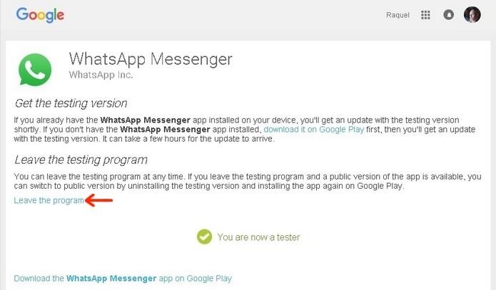 Destaque no link para deixar programa beta do WhatsApp (Foto: Reprodução/Raquel Freire)