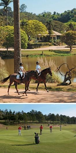 POLO E GOLFE  No centro hípico da Fazenda Serra Azul há aulas de equitação.  No Terras de São José II (abaixo), equipamentos medem a velocidade  das tacadas  (Foto: Divulgação)