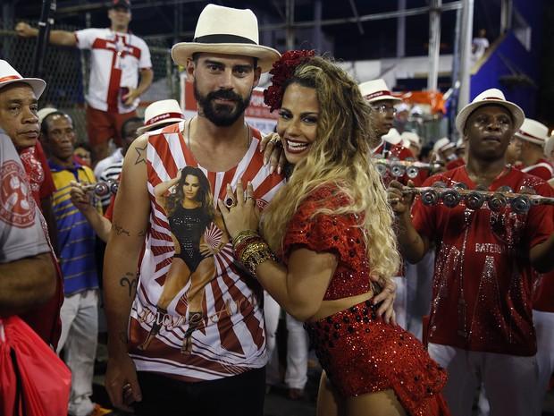 Radamés e Viviane Araújo em ensaio técnico do Salgueiro na Marquês de Sapucaí, no Centro do Rio (Foto: Marcos Serra Lima/ EGO)