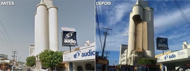 Veja o Moinho Matrisa antes e depois do desabamento. (Foto: Reprodução)